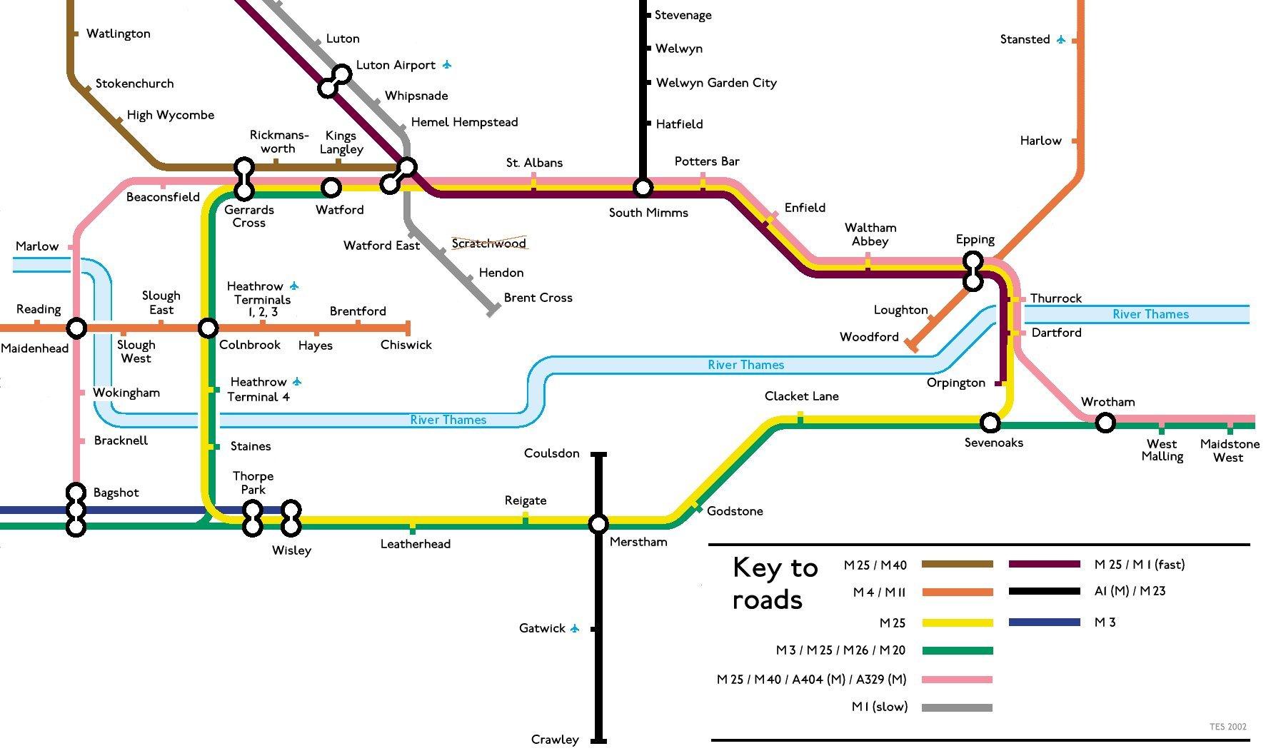 Map England Motorways